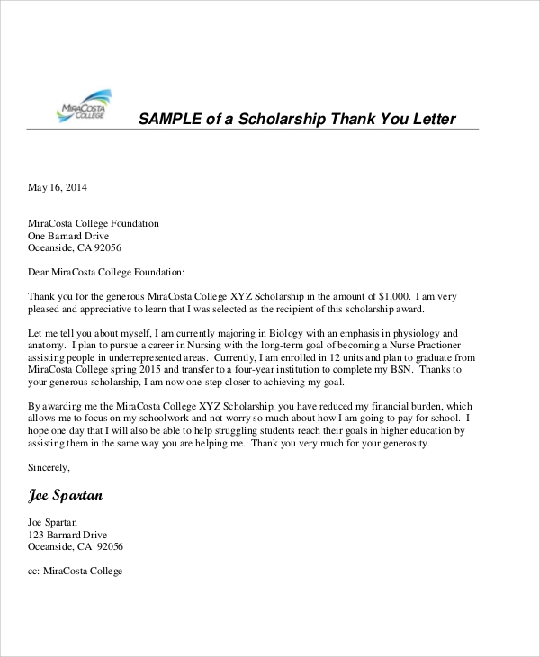 sample letter for thanking considering the application