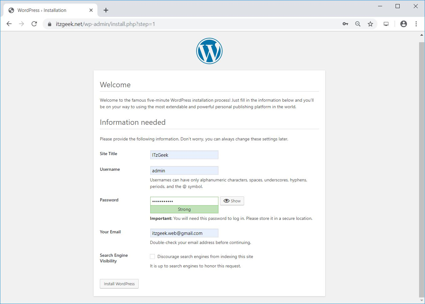 how to create database application in wordpress