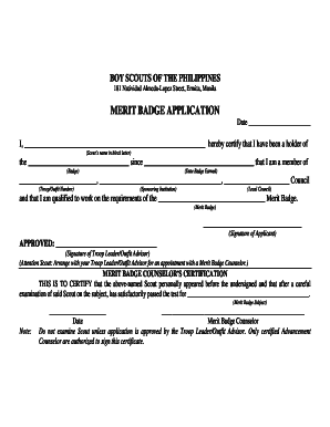 merit badge application form philippines