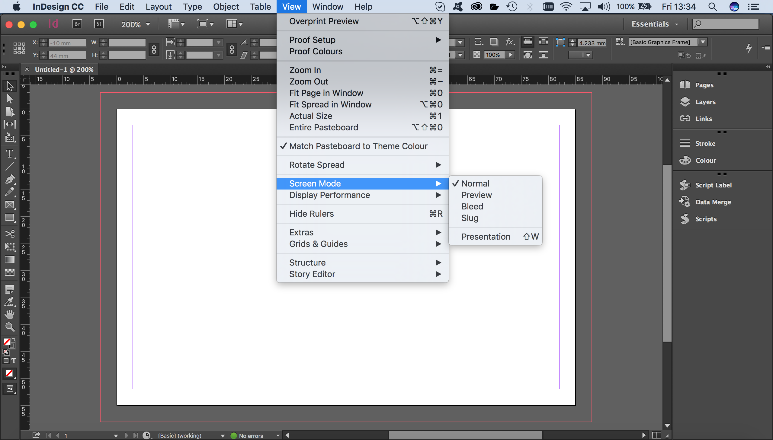 screen mode on application bar indesign shortcut
