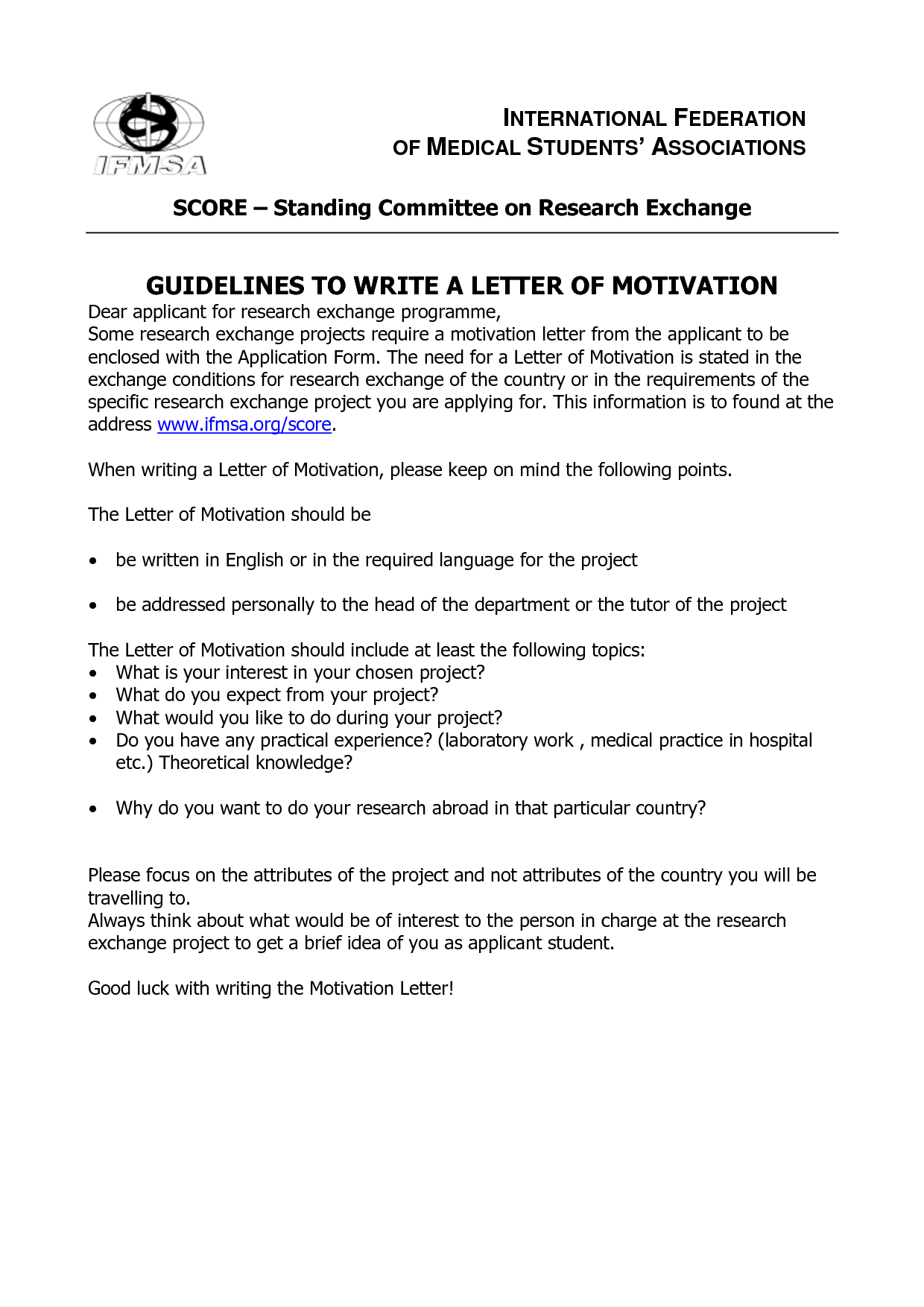 how to write a motivational letter for masters application