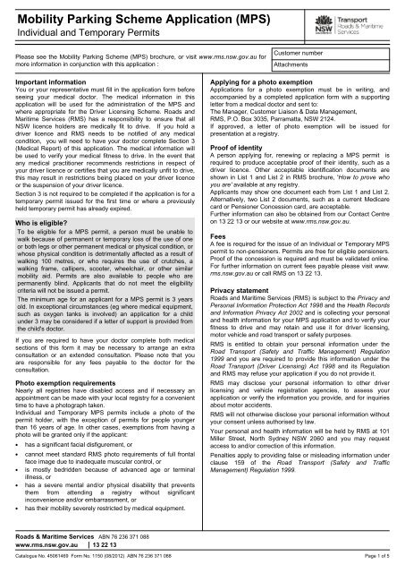 mobility parking permit application nsw